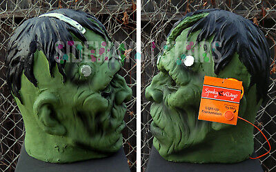 "13.5"" LIGHT-UP FRANKENSTEIN MONSTER HEAD HALLOWEEN PROP decoration horror rare 7"