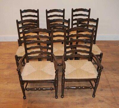 8 Solid Oak Pad Foot Ladderback Kitchen Chairs 7