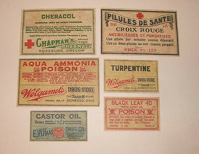 Set of 13 POISON VINTAGE LOOK APOTHECARY LABELS Halloween / Primitive 3