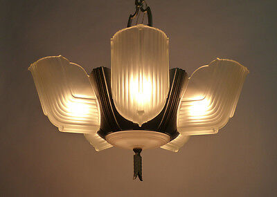 1930's Streamlined Art Deco 6 Light Slip Shade Chandelier