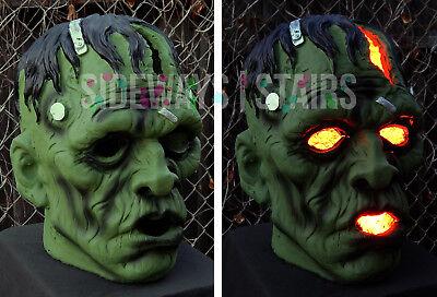 "13.5"" LIGHT-UP FRANKENSTEIN MONSTER HEAD HALLOWEEN PROP decoration horror rare 3"