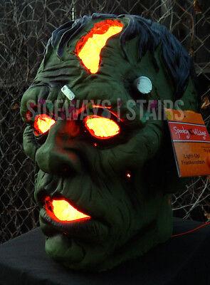 "13.5"" LIGHT-UP FRANKENSTEIN MONSTER HEAD HALLOWEEN PROP decoration horror rare 6"