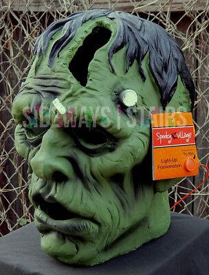 "13.5"" LIGHT-UP FRANKENSTEIN MONSTER HEAD HALLOWEEN PROP decoration horror rare 4"