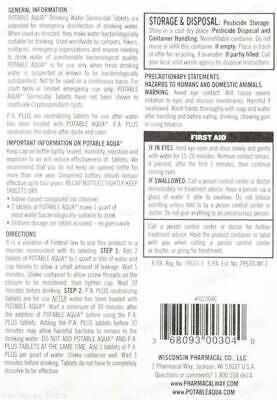 Potable Aqua Iodine Germicidal Water Purification w/ PA+ Plus 50-Tablets of Each 3
