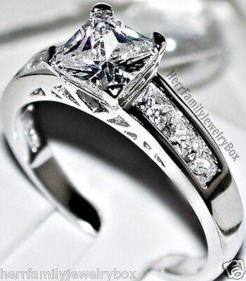Sterling Silver 14k White Gold Princess Diamond cut Engagement Ring Wedding Set 8