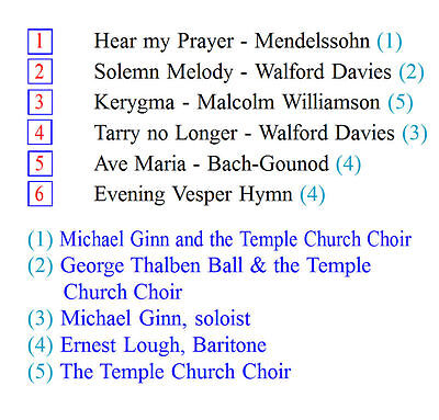 TEMPLE CHURCH CHOIR Hear my Prayer (Michael Ginn Boy Soprano), Kerygma & E  Lough