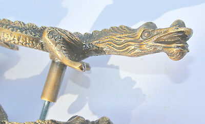 """2 Handles door DRAGON solid heavy BRASS old style vintage L& R drawer PULLS 6"""" B 7"""