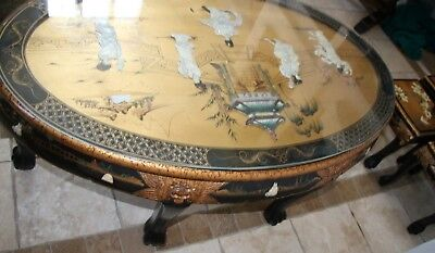 Vintage Asian Black Gold Leaf Mother of Pearl Oval Coffee Table & Five stands 12