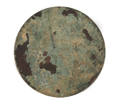 Roman Archaic Bronze Disc Mirror, raised lip, raised concentric rings 2