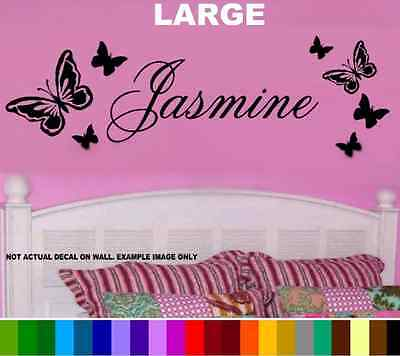 PERSONALIZED NAME & Butterflies Decal Sticker Butterfly Wall Art ...