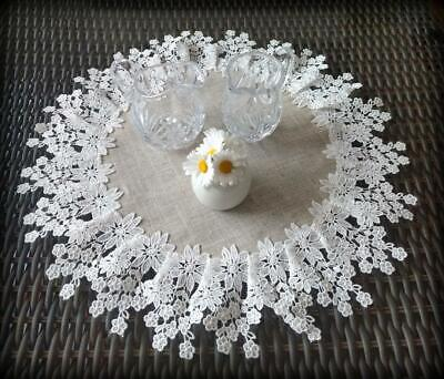 Doily 16 inch Flower Lace  Neutral Burlap Natural Floral Daisy 2