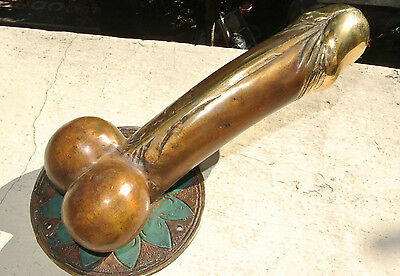 "PENIS shape DOOR PULL or HOOK hand made solid brass 9 "" handle heavy B 4"