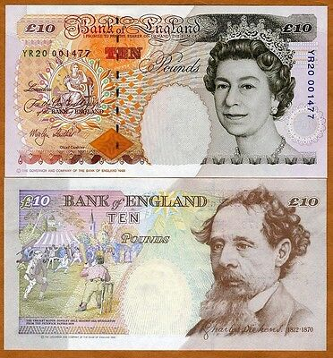 2012  P 389d UNCIRCULATED  Prefix KK Sig.Salmon GREAT BRITAIN 10 Pounds 2000
