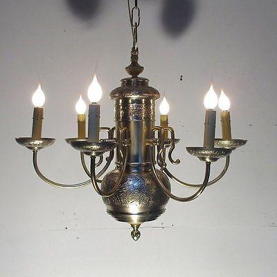 Vintage Brass Embossed Ceiling Light Fixture Lamp Chandelier  Restored 3