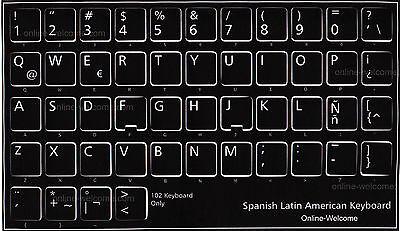 SPANISH LATIN AMERICA ENGLISH KEYBOARD STICKERS IVORY