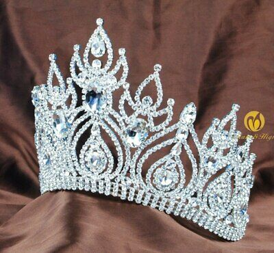 Fantastic Pageant Tiara Diadem Large Wedding Crown Crystal Bridal Prom Party New 2