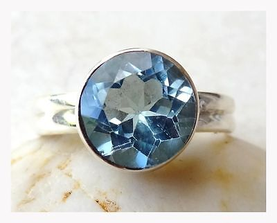 925 Sterling Silver BLUE TOPAZ Semi Precious GEMSTONE RING SIZE P 1/2 - US 8