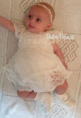 Baby Girl Ivory Christening Headband Baptism Wedding Lace Pearl Hairband Bow 3