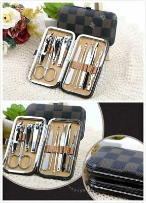 10Pcs Manicure Pedicure Stainless Nail Clippers Kit Set Cuticle Grooming Case 3