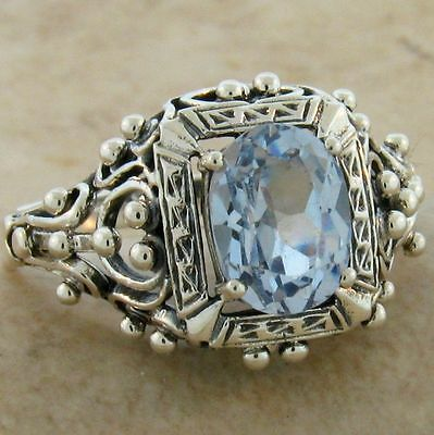 Antique Victorian Design Sim Aquamarine .925 Sterling Silver Ring,          #386 2