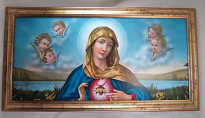 Las Santa María Madre Virgen Gottes Imagen antiguo barroco 77x42 cm Iconos