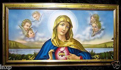 Las Santa María Madre Virgen Gottes Imagen antiguo barroco 77x42 cm Iconos 2