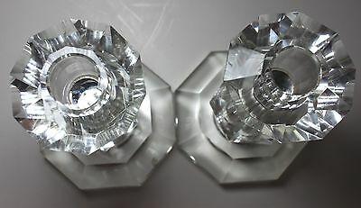 Antique Hand Cut IMPORTED Lead Crystal Candle HOLDERS Set of 2