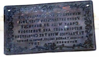 Rev. T. Hardie Fallus Cooper Plaque