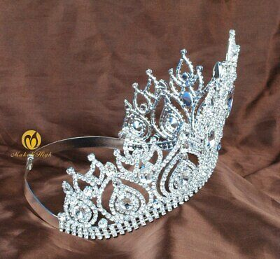 Fantastic Pageant Tiara Diadem Large Wedding Crown Crystal Bridal Prom Party New 6