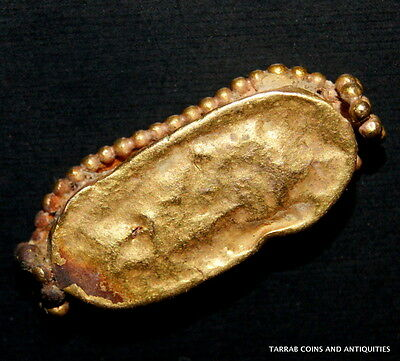 Ancient Roman Ring Bezel With An Iridescent Roman Glass Center Piece! Charming! 3