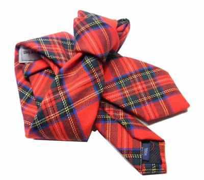 nuovi speciali vendita più calda eccezionale gamma di stili CRAVATTA LANA UOMO a quadri tartan rosso Cravatte in lana English style m  Italy