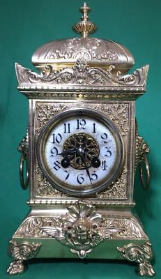S.marti Antique French 8 Day 2 Train Rococo Mantle Clock Set With Candleabras 6