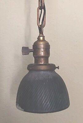 "17"" Long Brass Pendant Light Fixture Xray Shade Globe Hubbell Socket 4"