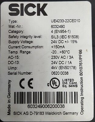 Sick Ue4233-22Ce010 6032490 Safety Monitor ((In9S3B1) 2