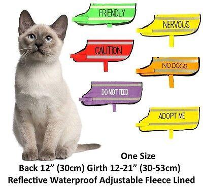 Cat Pet Coat Waterproof Reflective Fleece Lined One Size Adjustable Warm Cosy 2