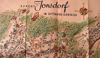 Jonsdorf Kurort Zittauer Gebirge 1952 Sammlerstück DDR Karte Orientierungsplan