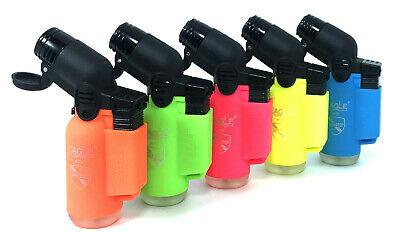 5 Pack Eagle Torch Neon Color 45 Degree Angle Jet Flame Lighter Refillable 3