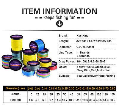 KastKing 137-1000M 8LB-150LB Various Color Dyneema PE Spectra Braid Fishing Line 5