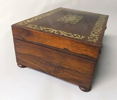 Antique Regency Rosewood Sewing Box. Brass Inlays. Original. Genuine. 7