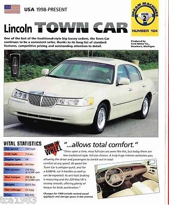 1998 1999 Lincoln Town Car Spec Sheet Brochure Cartier Edition