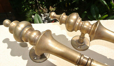 """2 large DOOR handle pull solid 2 SPUN 30 cm brass vintage old style hollow 12 """"B 9"""