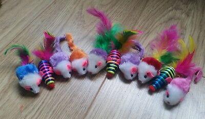 Bulk Cat Toys Kitten Rod Mouse Feathers Bells Balls Fur Scratch Teaser Rat UK 2