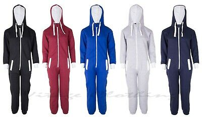 Kids Boys Girls Plain Hooded 1Onesie All in one Jumpsuit Playsuit Sizes 7-13 YRS 2