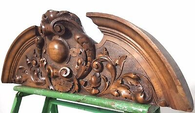 SOLID HAND CARVED WOOD PEDIMENT ANTIQUE FRENCH ARCHITECTURAL CROWN SALVAGE 19 th