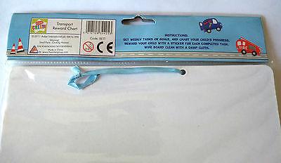 TRANSPORT REWARD CHART 3 Wipe Clean Board 42 Peelable ROAD SIGN Stickers TASKS