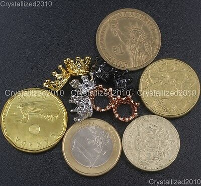Zircon Gemstones Pave Queen Crown Big Hole Bracelet Connector Charm Beads 6x11mm 2