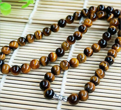 Natural 8mm Yellow Tiger's Eye Gemstone Bead Round Necklace 18'' AAA 3