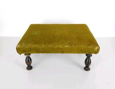 Antique 1800's Victorian Green Velvet Wooden Footstool 6