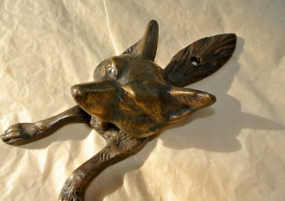 small FOX head old heavy front Door Knocker SOLID BRASS vintage antique style B 5