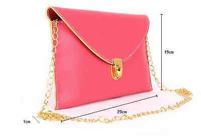 New Candy Colours Envelope Clutch Bag Shoulder Gold Chain Pink Brown Black White 12